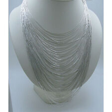50 Strand .925 Liquid Sterling Silver Multi Level Tier Necklace Dramatic Effect
