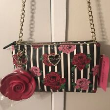 Betsey Johnson New York Black And White with Pink Roses Purse. Keychain. NWT.