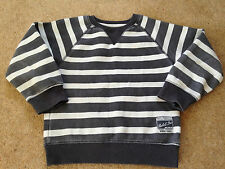 Boys Grey And White Striped Top Size 3-4 Years