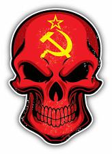 "Uni Soviet Flag Skull USSR Soviet Union Car Bumper Sticker Decal 4"" x 5"""