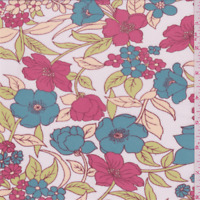 White/Red Floral Stretch Mesh, Fabric By The Yard