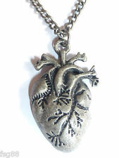 NEW Punk Gothic Human Anatomical Heart Small Pendant Necklace Silver Chain