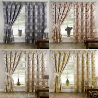 """Davina Floral 3"""" Headed Tape Pencil Pleat Curtains Pair Ready Made Fully Lined"""