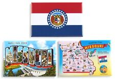 Greetings from Missouri Fridge Magnet Set travel souvenir flag map