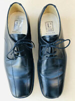 Mens Loake Black Leather Caligula shoes Formal dress Size 8 Laces Square Toe