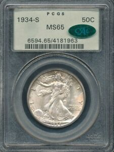 1934-S Walking Liberty Half Dollar PCGS MS 65 / CAC *Old Green Label Holder!*
