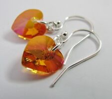Earrings Made With Swarovski Astral Pink Heart & Solid 925 Sterling Silver