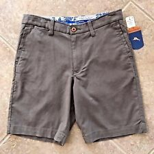 Tommy Bahama Offshore Shorts Mens 34 Clove (Dk Taupe) Flat Front Stretch NWT $98
