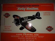 Airplane Die-Cast Metal Coin Bank, Collector Series, Harley Davidson