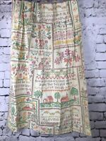 """Vintage Country Sampler Cross Stitch Curtain Panel Sears Perma Prest 44"""" x 24"""""""
