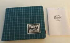 New Herschel Supply Roy Coin Aqua Grid Canvas Bi Fold Street Men's Wallet