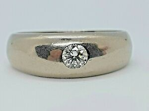 Vintage Heavy 18 ct White Gold and Natural DIAMOND Gypsy set ring