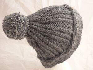 Teens -Adults Grey Garter Stitch & multi Pom-Pom Hat -hand made hat - Brand New