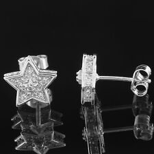Sterling Silver Star Shape Earrings Simulated Diamonds Iced Out 10mm Studs