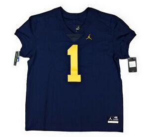 Jordan Michigan Wolverines #1 Elite Football Jersey Sz 48 Stitched Blue Maize