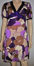 Oasis Cotton Purple Multi Colour Sequin Floral Belted Dress Size 8