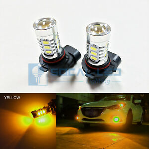 2pcs Golden Yellow 9005 15W High Power Bright LED Bulbs 5730 15SMD DRL Headlight