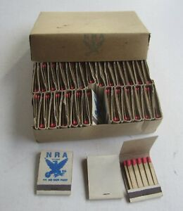 Box of 50 Old Vintage 1930's - NRA National Recovery Act MATCHBOOKS - Depression
