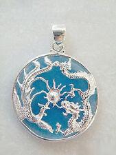 Sky-blue Jade White Gold Plated Dragon Phoenix Sun Luck Pendant & Necklace