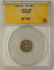 1903 Canada Silver 5 Cent Piece Coin 5c ANACS EF-40