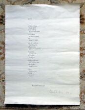 KORE - ROBERT CREELEY - LARGE POETRY BROADSIDE SIGNED LIMITED 1 OF 26 RARE 1975