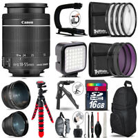 Canon EFS 18-55mm IS STM - Video Kit + LED KIt + Tripod - 16GB Accessory Bundle