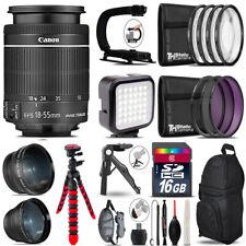 Canon EFS 18-55mm IS STM - Video Kit + LED KIt + Tripod - 16GB Accessory Bundle