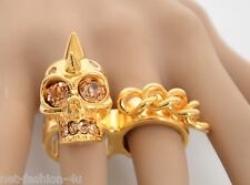 ALEXANDER McQUEEN PUNK SKULL CHAIN TWO FINGER RING IT 13 US 6.5 UK N BNTW BOX