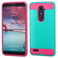 Teal Green/Hot Pink Brushed Hybrid case for ZTE Z988 (Kirk) ZTE Z981 (Zmax Pro)