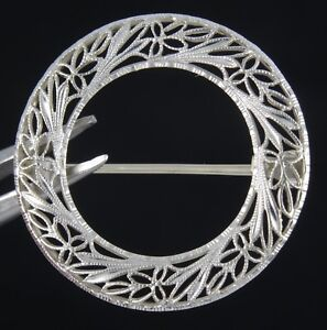 VINTAGE ESTATE SOLID 14K WHITE GOLD LAUREL WREATH BROOCH ~ 1""