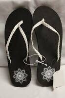 NEW Womens Shoes White Braided Sandals Size 10 * Ladies Flats Summer Flip Flops