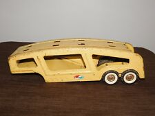 """VINTAGE  TRUCK TOY  16"""" LONG STRUCTO YELLOW CAR TRANSPORTER TRAILER"""