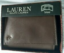 Lauren Ralph Lauren Men's Soft Burnished Leather Trifold  Wallet Brown