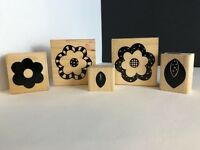 Close to my Heart Flower Stamping set Wood Mounted Rubber Stamps