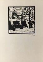Holzschnitt Stadtansicht mit Fluss und Bäumen JR 1982 DDR Kunst 14,8 x 10,5