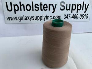 Tex40 Tan Thread #43492 100% Spun Polyester Cone 6000Yard, sold by 3 spools.