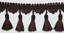 5 MT  Brown Italian Tassel  Fringe Braid Trim Upholstery  8 cm- PL3301