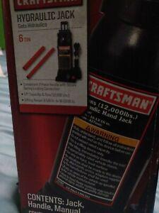 CRAFTSMAN 950282 6 Ton Hydraulic Bottle Jack New