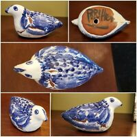 Signed Faience Bird; Terracotta Figurine; Blue & White Drip Glaze - Quirky, Raw