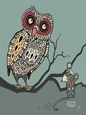 PAINTING NATURE ANIMALS BIRDS OWL MOUSE MOSAIC DESIGN BRANCH POSTER BMP10238