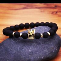 Men's Luxury Crown Natural Stone Matte Black Charm CZ Copper Bead Women Bracelet
