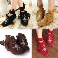Womens Ladies Boho Faux Suede Embroidered Fringe Ankle Boots Shoes uk Size 2-8