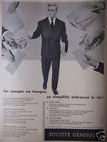 PUBLICITÉ 1958 SOCIÉTÉ GÉNÉRALE ÇA SIMPLIFIE TELLEMENT LA VIE - ADVERTISING