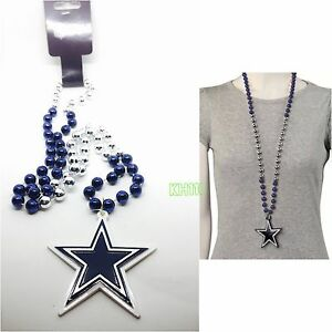 NFL Dallas Cowboys Mardi Gras Beads With Medallion Necklace