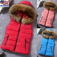 Womens Quilted Gilet Hoodies Puffer Padded Sleeveless Waistcoat Vest Jacket US