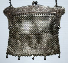 Vintage Antique Floral Etched Mesh Purse - German Silver NICE FAST FREE SHIP USA