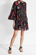 NWT $575 McQ Alexander McQueen Pussy Bow Floral Dress IT 36 S
