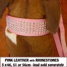 PINK LEATHER BIG DOG COLLAR with RHINESTONES STAFFY BULLDOG etc   CHOOSE SIZE