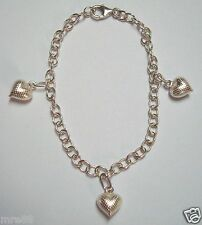 MRE * 925 Sterling Silver Bracelet with Heart Charms