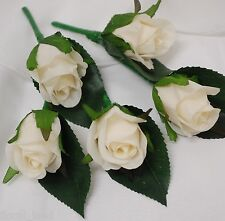 5X WEDDING FLOWER BOUTONNIERE SILK IVORY CREAM GROOM ROSE ROSES BUTTON HOLE